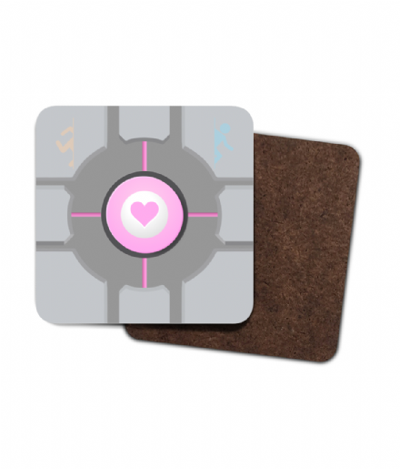 Weighted Companion Cube 4 Pack Hardboard Coaster Set